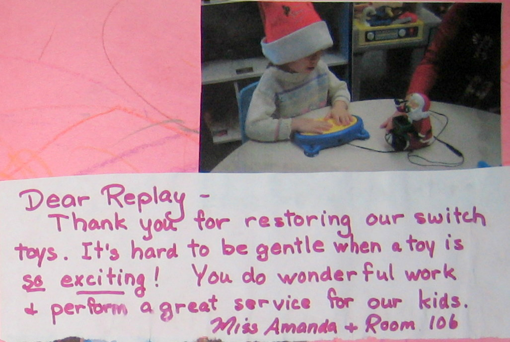 Thank you note for repairing toys