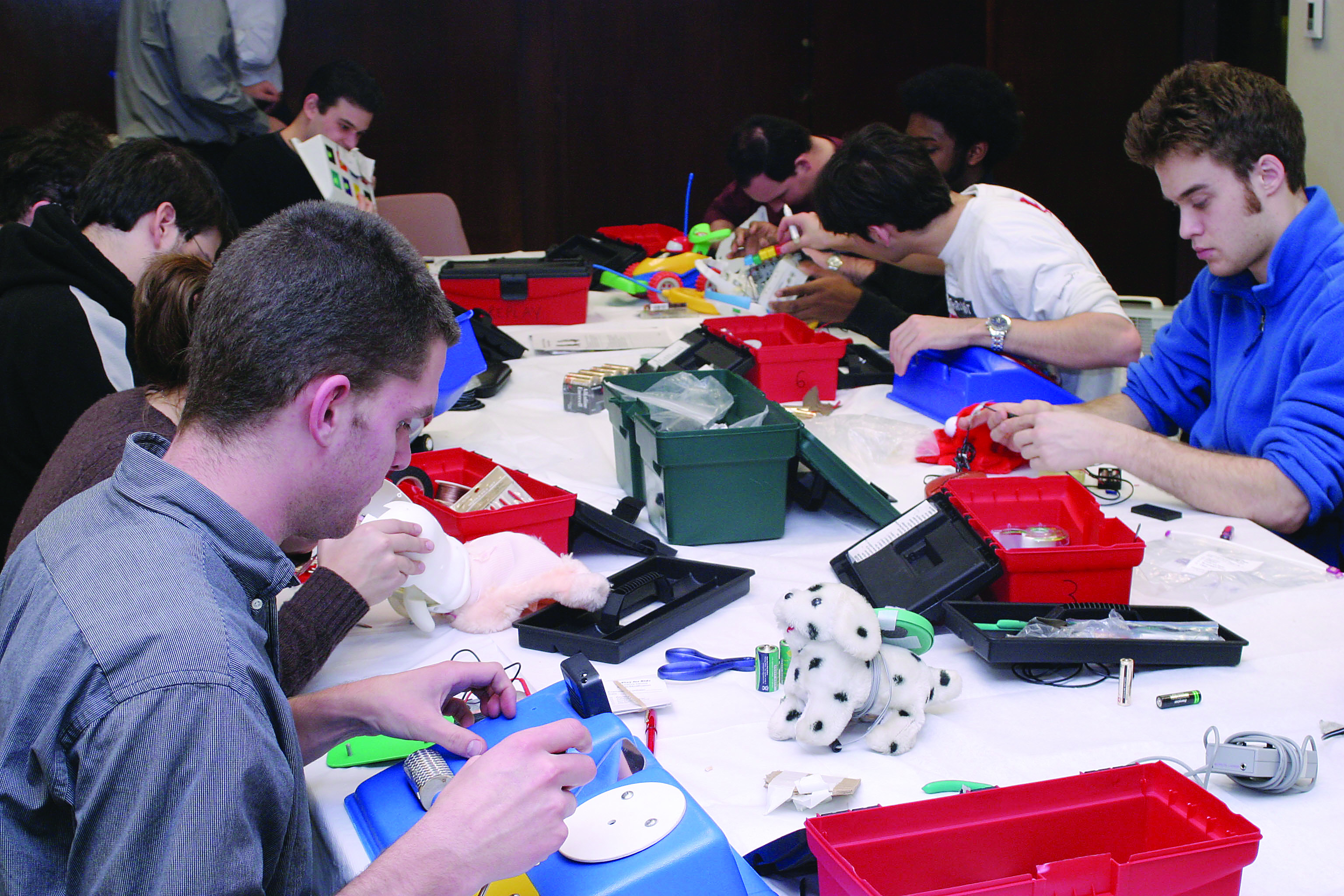 Toys being repaired at a workshop